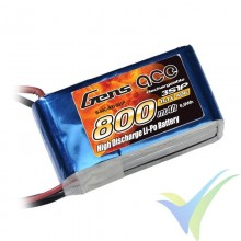 Batería LiPo Gens ace 800mAh (8.88Wh) 3S1P 40C 72g JST-SYP