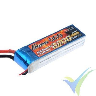 Batería LiPo Gens ace 2200mAh (24.42Wh) 3S1P 30C 208.2g Deans