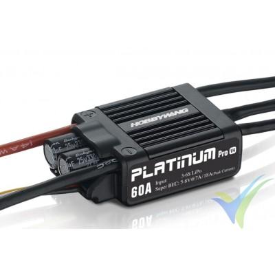 Variador brushless HobbyWing Platinum Pro LV V4, 60A, 3S-6S, BEC 7A, 49g