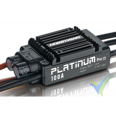 Variador brushless HobbyWing Platinum Pro V3, 100A, 2S-6S, BEC 10A, 104g