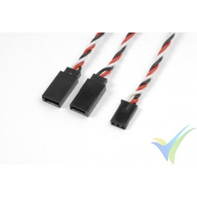 Cable silicona trenzado Y para servos Futaba - 15cm - 0.33mm2 (22AWG) 60 venillas