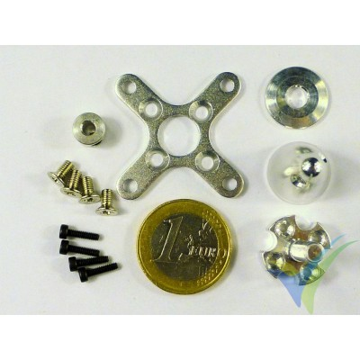 Cruceta fijación trasera + portahélices, para motor 28xxx, cono color aluminio