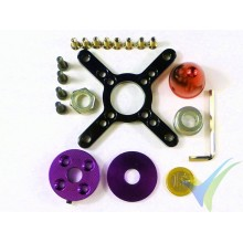 Crosspiece rear fixing + prop holder, for EMP C80xx motor, red spinner