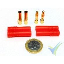 Banana HXT connector 4mm, gold plated, male and female, with insulating red cover, 8.3g