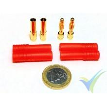Conector HXT banana 4mm, metalizado oro, macho y hembra, con carcasa aislante roja, 8.3g