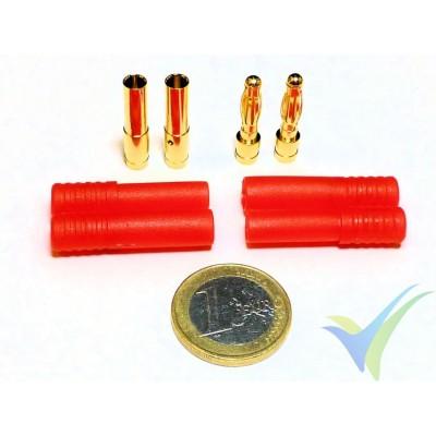 Conector banana 4mm, metalizado oro, macho y hembra, con carcasa aislante roja