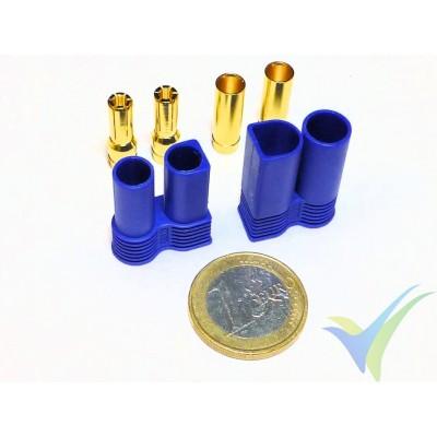 Conector EC5 5mm, metalizado oro, macho y hembra