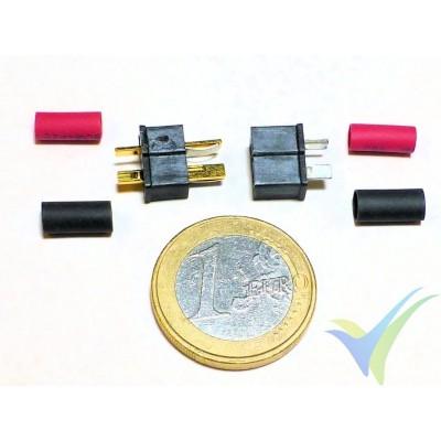 Conector Deans mini, metalizado oro, macho y hembra