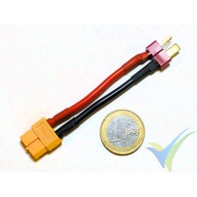 Adaptador de conector XT60 hembra a Deans macho (cable 2.08mm2, 14AWG)