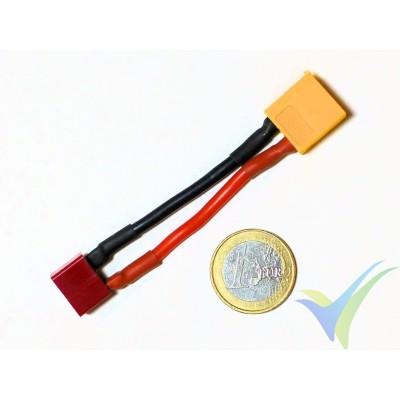 Adaptador de conector XT60 macho a Deans hembra (cable 2.08mm2, 14AWG)