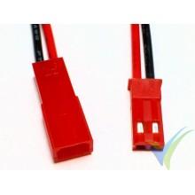 Conector JST BEC con cable silicona 10cm ya crimpado 0.52mm2 (20AWG), macho y hembra, 2.3g