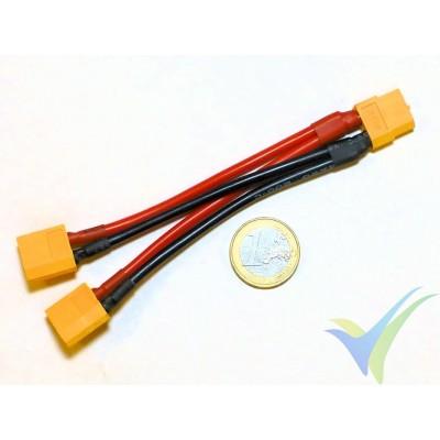 Adaptador de conector XT60 hembra a dos XT60 macho en paralelo (cable 2.08mm2, 14AWG)