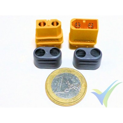 Connector XT60, gold plated, male and female, with insulation cover