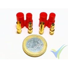 Conector banana 3.5mm, metalizado oro, macho y hembra, con carcasa aislante roja, 4.2g