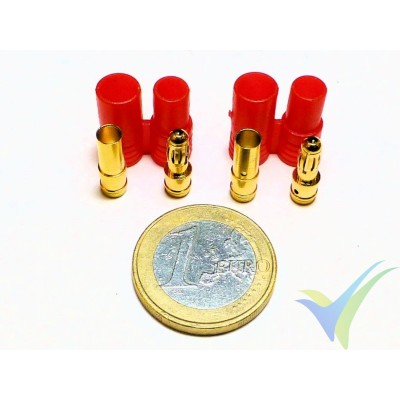 Banana connector 3.5mm, gold plated, male and female, with insulating red cover, 4.2g