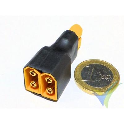 Adaptador de conector XT60 hembra a dos XT60 macho en paralelo, 12.7g