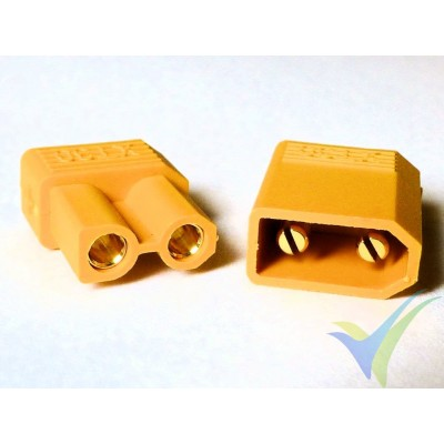 XT30 connector, gold plated, male and female, 2.3g