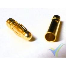 Conector banana 3mm, metalizado oro, macho y hembra, 0.9g