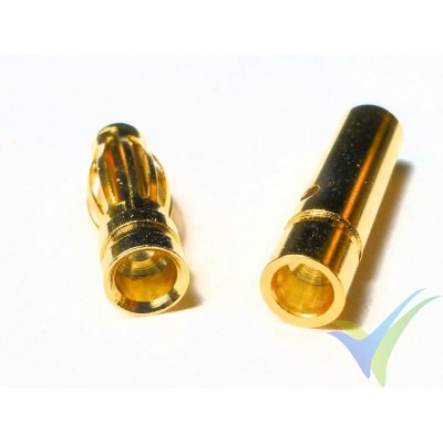 Banana connector 3mm, gold plated, male and female, 0.9g