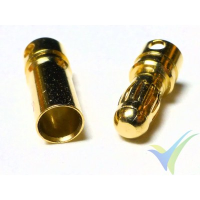 Banana connector 3.5mm, gold plated, male and female, 1.3g