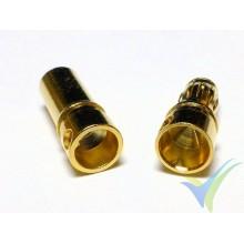 Conector banana 3.5mm, metalizado oro, macho y hembra, 1.3g