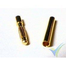 Conector banana 2mm, metalizado oro, macho y hembra, 0.55g