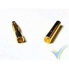 Conector banana 2mm, metalizado oro, macho y hembra, 0.5g