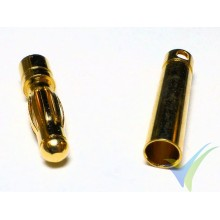 Banana connector 4mm, gold plated, male and female, 2.6g