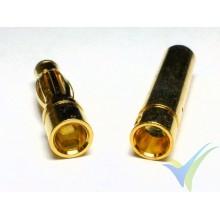 Conector banana 4mm, metalizado oro, macho y hembra, 2.6g
