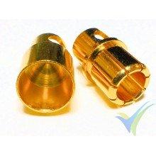 Conector banana 8mm, metalizado oro, macho y hembra, 4.5g