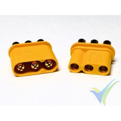 Conector MR30, metalizado oro, macho y hembra, con capuchón aislante, 2.4g