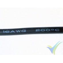 1m Cable de silicona negro 1.31mm2 (16AWG), 252x0.08 venillas