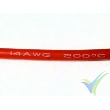 1m Cable de silicona rojo 2.08mm2 (14AWG), 400x0.08 venillas, 27.6g