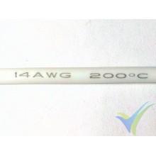 1m Cable de silicona blanco 2.08mm2 (14AWG), 400x0.08 venillas, 27.7g