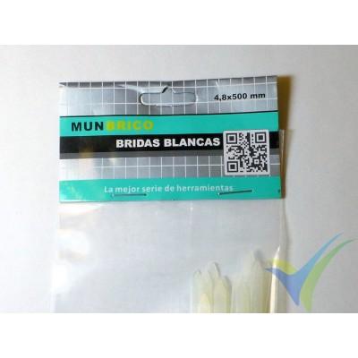 Bridas nylon blanco 4.8x500mm, 12 ud