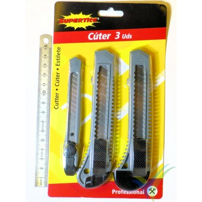 Cutter Supertite plástico con bloqueo, 2 de 18mm y 1 de 9mm