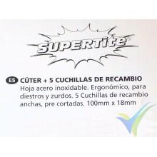 Cutter Supertite plástico 18mm con bloqueo + 5 cuchillas de recambio