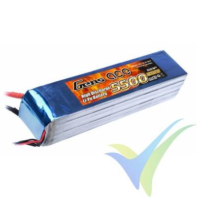 Batería LiPo Gens ace 5500mAh (101.75Wh) 5S1P 25C 752g Deans