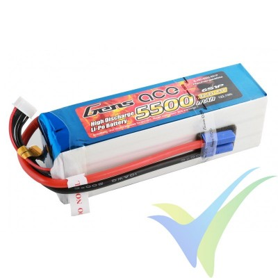 Batería LiPo Gens ace 5500mAh (122.1Wh) 6S1P 45C 805g EC5