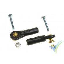 Rótula nylon pequeña G-Force, M2, bola con torreta y tornillo M2 pasante, 2 uds