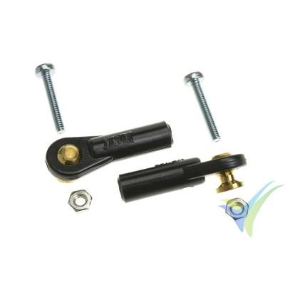 Rótula de mando de nylon M2 - pequeña - tipo bola con torreta y tornillo M2 pasante - 2 unidades