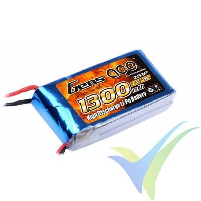 Batería LiPo Gens ace 1300mAh 2S1P 25C (9.62Wh) 86g Deans