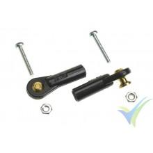Rótula nylon mediana G-Force, M2, bola con torreta y tornillo M2 pasante, 2 uds