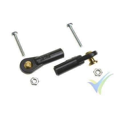 Rótula de mando de nylon M2 - mediana - tipo bola con torreta y tornillo M2 pasante - 2 unidades