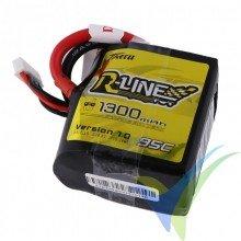 Tattu R-Line - Gens ace Square LiPo Battery Pack 1300mAh (19.24Wh) 4S1P 95C 162.5g XT60