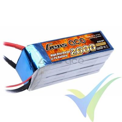 Batería LiPo Gens ace 2600mAh (57.72Wh) 6S1P 45C 452g EC5