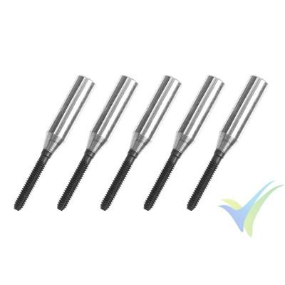 Adaptador quick link rosca M2, para varilla de carbono 3mm - 5 unidades