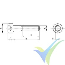 M3x20 Screw, cylindrical Allen head, stainless A2, DIN-912, 1 pc