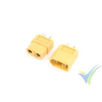 Conector XT60, metalizado oro, macho y hembra 2 pares