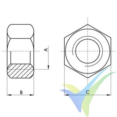 Tuerca M2.5 hexagonal inoxidable A2 DIN-934, 1 unidad